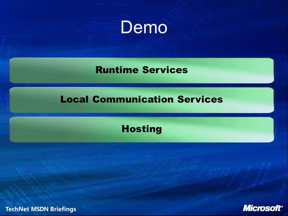 Runtime Services Local Communication Services Hosting Demo