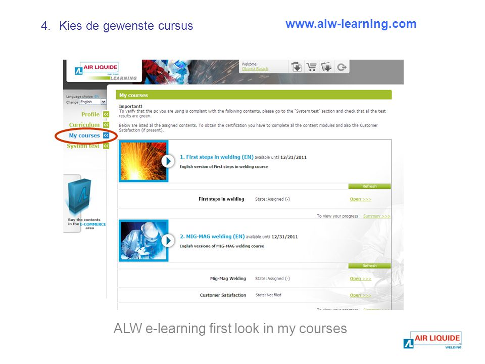 ALW e-learning first look in my courses   4.Kies de gewenste cursus