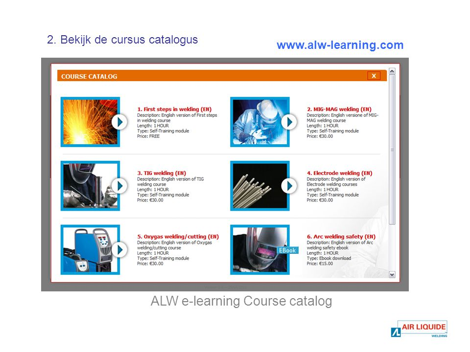 ALW e-learning Course catalog   2. Bekijk de cursus catalogus