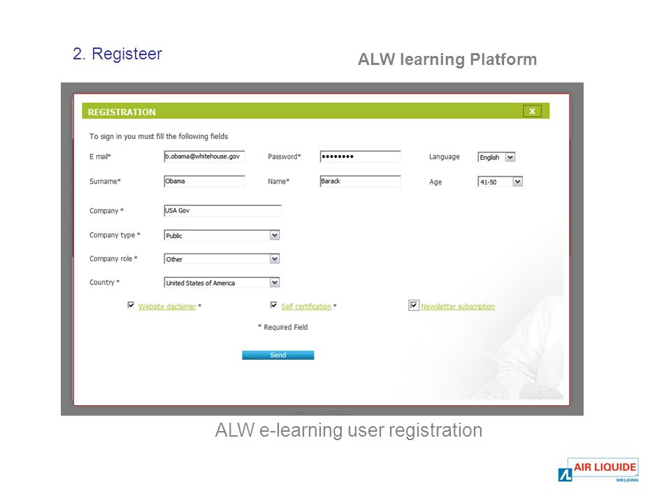 ALW learning Platform ALW e-learning user registration 2. Registeer