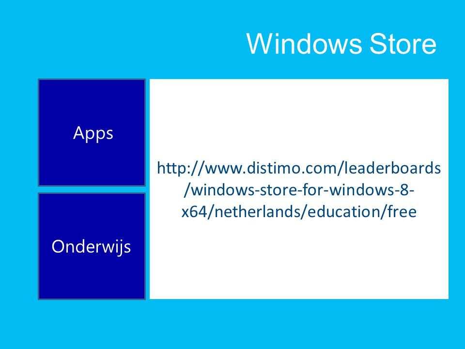 Windows Store http://www.distimo.com/leaderboards /windows-store-for-windows-8- x64/netherlands/education/free Apps Onderwijs