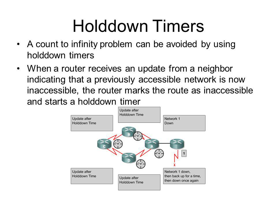 Holddown Timers A count to infinity problem can be avoided by using holddown timers When a router receives an update from a neighbor indicating that a previously accessible network is now inaccessible, the router marks the route as inaccessible and starts a holddown timer