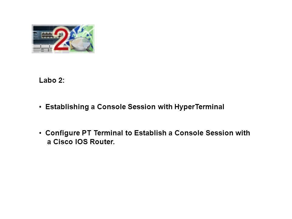 Labo 2: Establishing a Console Session with HyperTerminal Configure PT Terminal to Establish a Console Session with a Cisco IOS Router.
