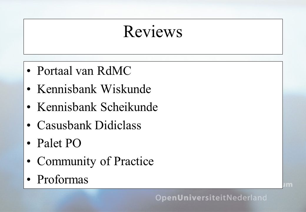 Reviews Portaal van RdMC Kennisbank Wiskunde Kennisbank Scheikunde Casusbank Didiclass Palet PO Community of Practice Proformas