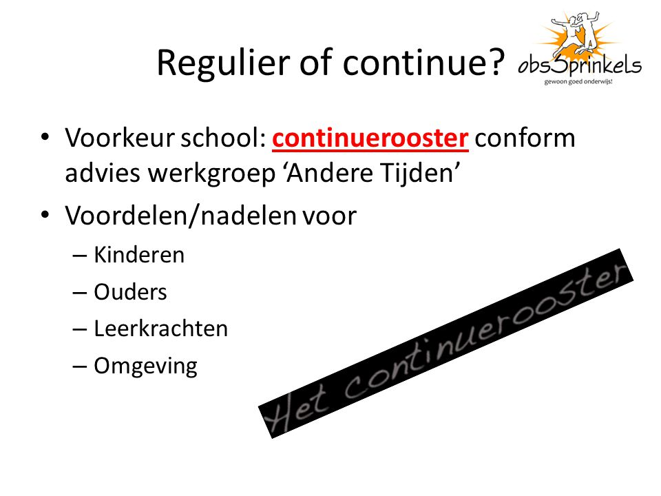 Regulier of continue.