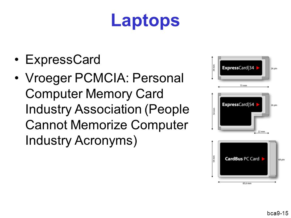 bca9-15 Laptops ExpressCard Vroeger PCMCIA : Personal Computer Memory Card Industry Association (People Cannot Memorize Computer Industry Acronyms)