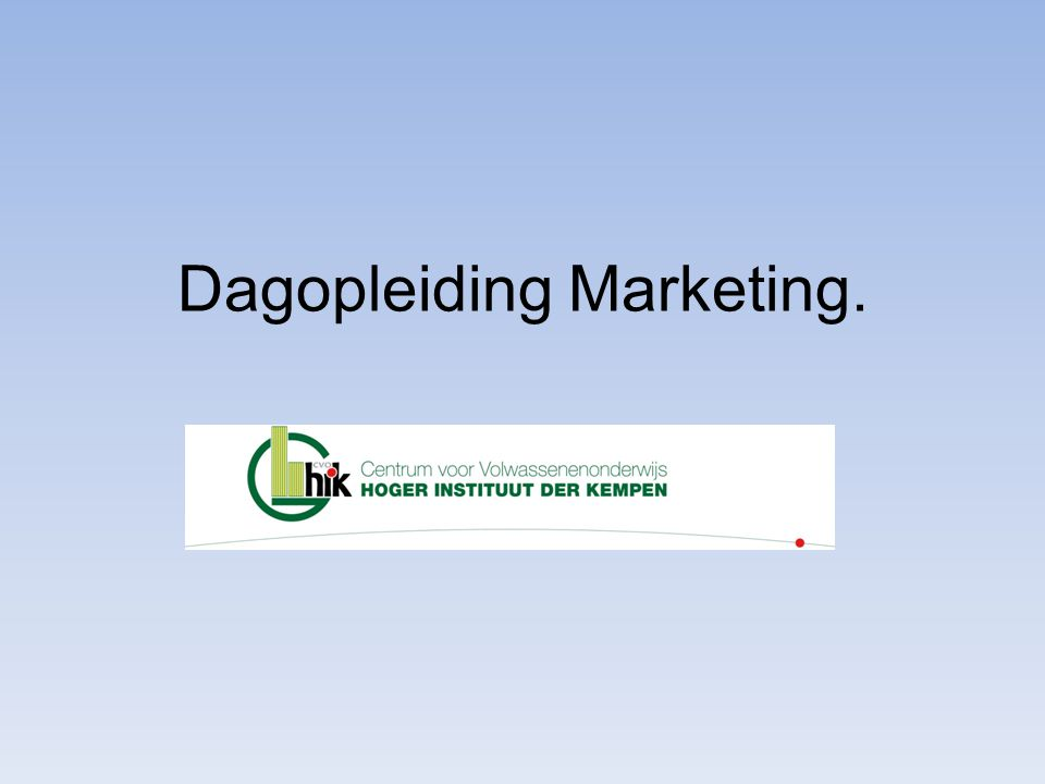 Dagopleiding Marketing.