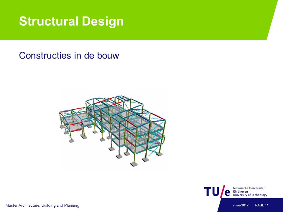 Structural Design Constructies in de bouw Master Architecture, Building and Planning PAGE 117 mei 2012