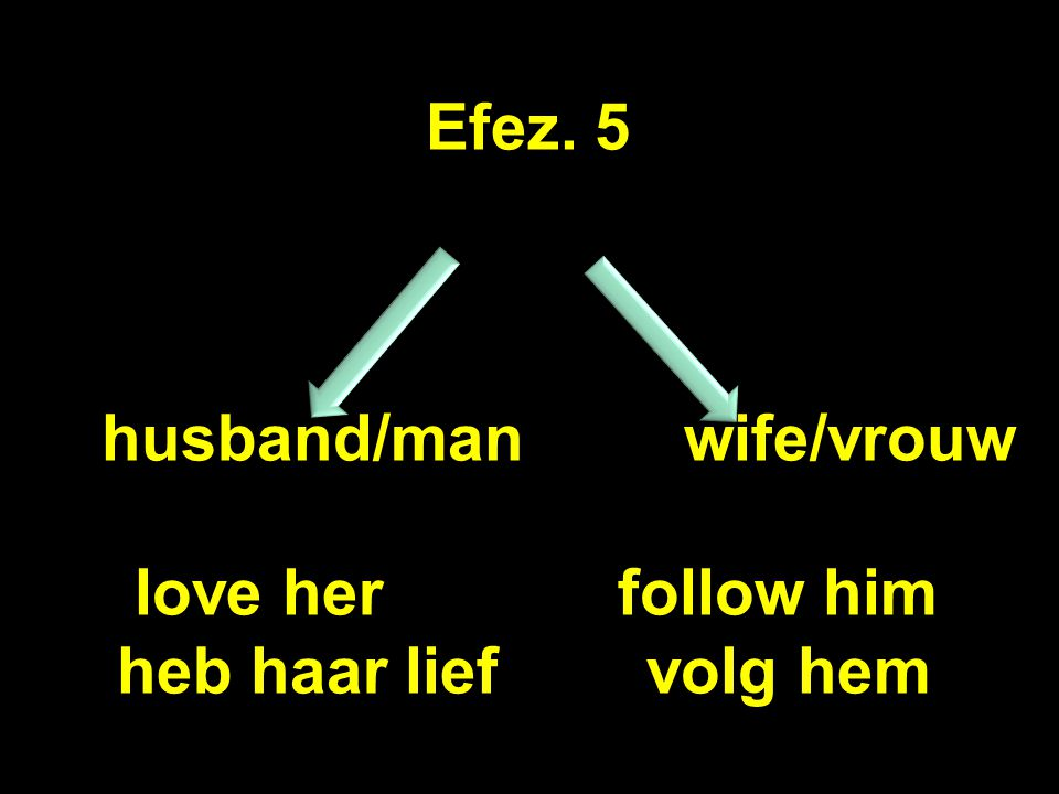 Efez. 5 husband/man wife/vrouw love her follow him heb haar liefvolg hem