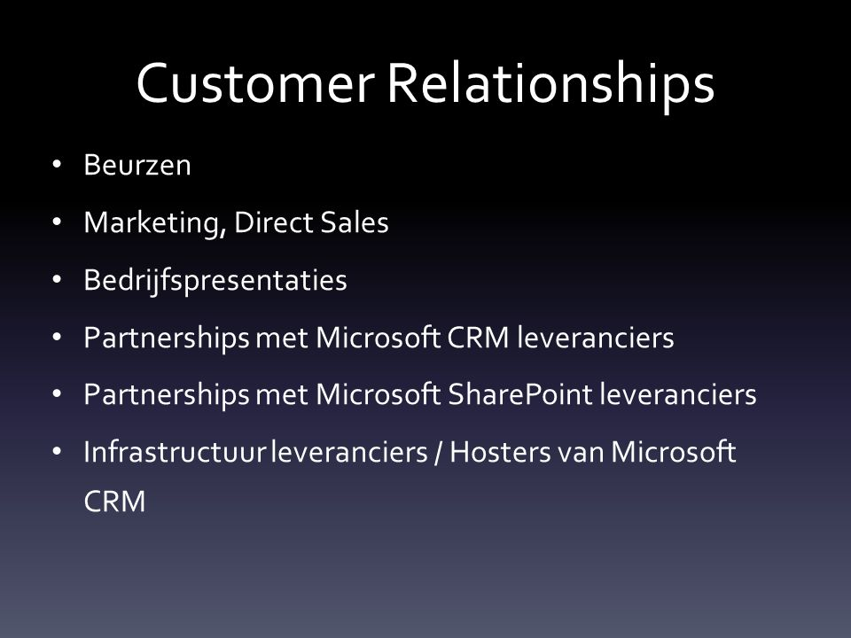 Customer Relationships Beurzen Marketing, Direct Sales Bedrijfspresentaties Partnerships met Microsoft CRM leveranciers Partnerships met Microsoft SharePoint leveranciers Infrastructuur leveranciers / Hosters van Microsoft CRM