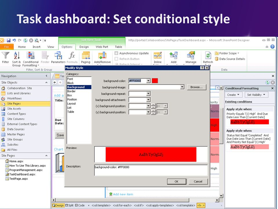 Task dashboard: Set conditional style