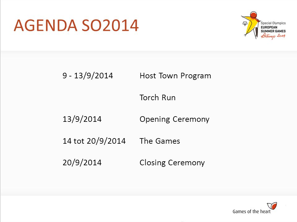 AGENDA SO2014 Host Town Program Torch Run Opening Ceremony The Games Closing Ceremony 9 - 13/9/2014 13/9/2014 14 tot 20/9/2014 20/9/2014