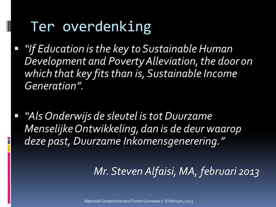 Ter overdenking  If Education is the key to Sustainable Human Development and Poverty Alleviation, the door on which that key fits than is, Sustainable Income Generation .