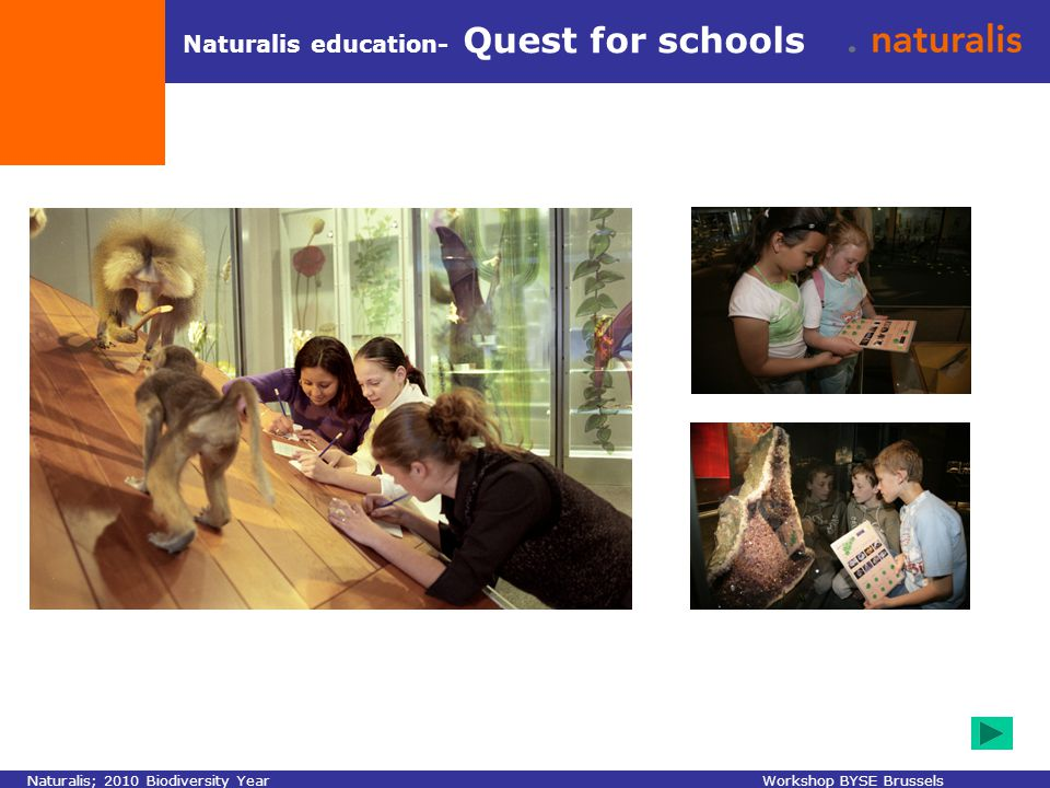Naturalis education- Quest for schools Naturalis; 2010 Biodiversity YearWorkshop BYSE Brussels