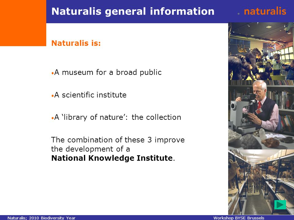 Naturalis general information Naturalis is: A museum for a broad public A scientific institute A 'library of nature': the collection The combination of these 3 improve the development of a National Knowledge Institute.