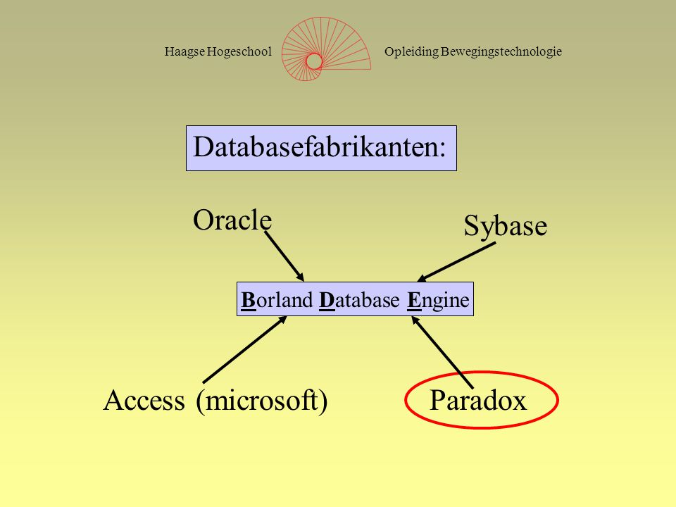 Opleiding BewegingstechnologieHaagse Hogeschool Databasefabrikanten: Oracle Sybase Access (microsoft)Paradox Borland Database Engine