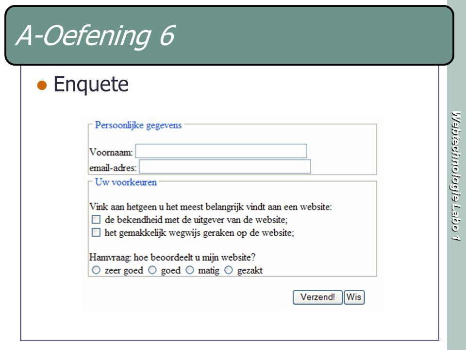 Webtechnologie Labo 1 A-Oefening 6 Enquete