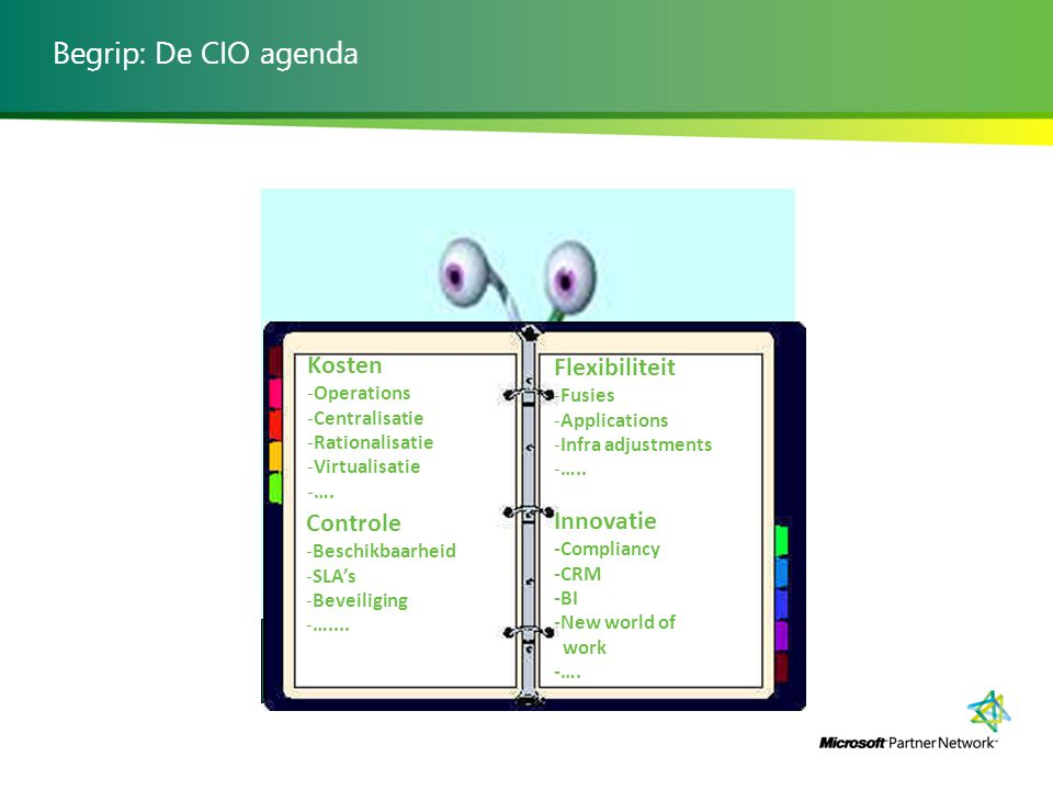 Begrip: De CIO agenda Spaghetti monster Kosten -Operations -Centralisatie -Rationalisatie -Virtualisatie -….