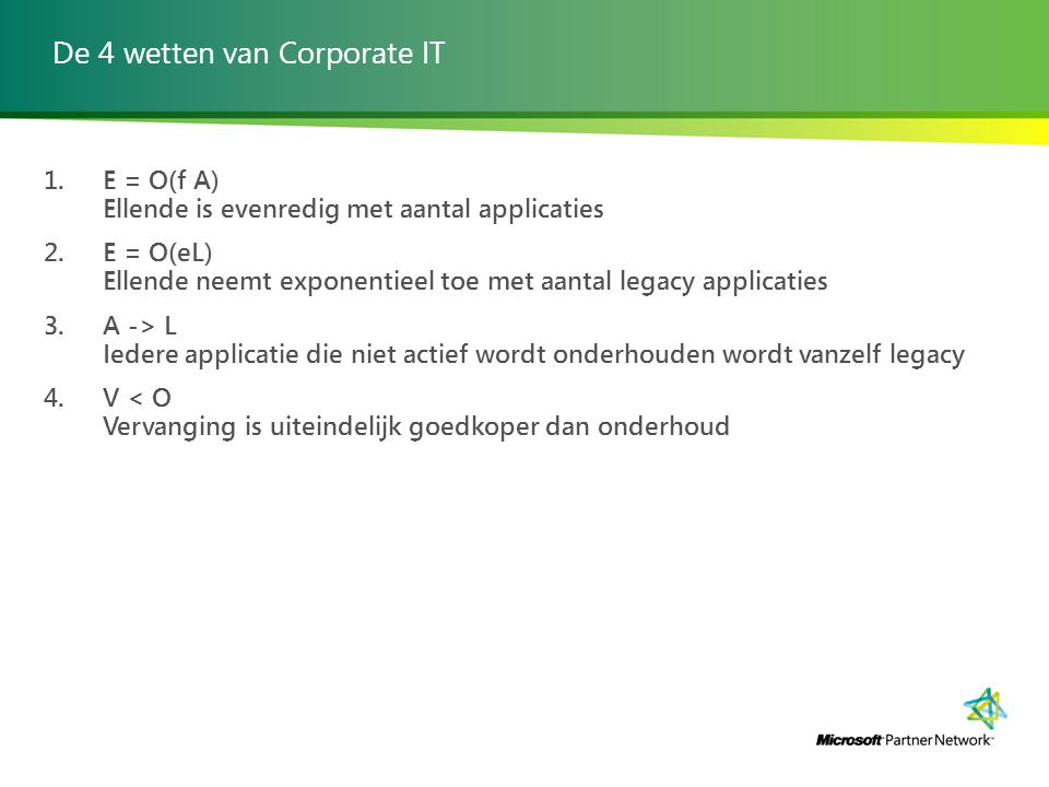 De 4 wetten van Corporate IT 1. E = O(f A) Ellende is evenredig met aantal applicaties 2.