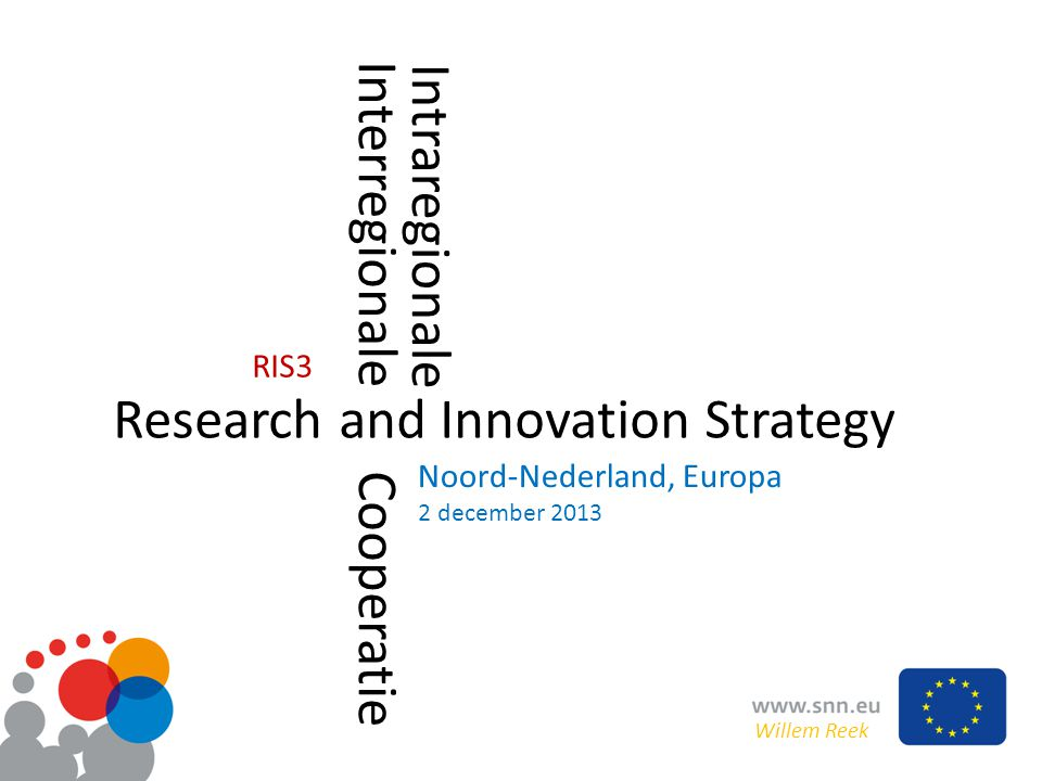 Research and Innovation Strategy Interregionale Cooperatie Noord-Nederland, Europa 2 december 2013 Willem Reek RIS3 Intraregionale