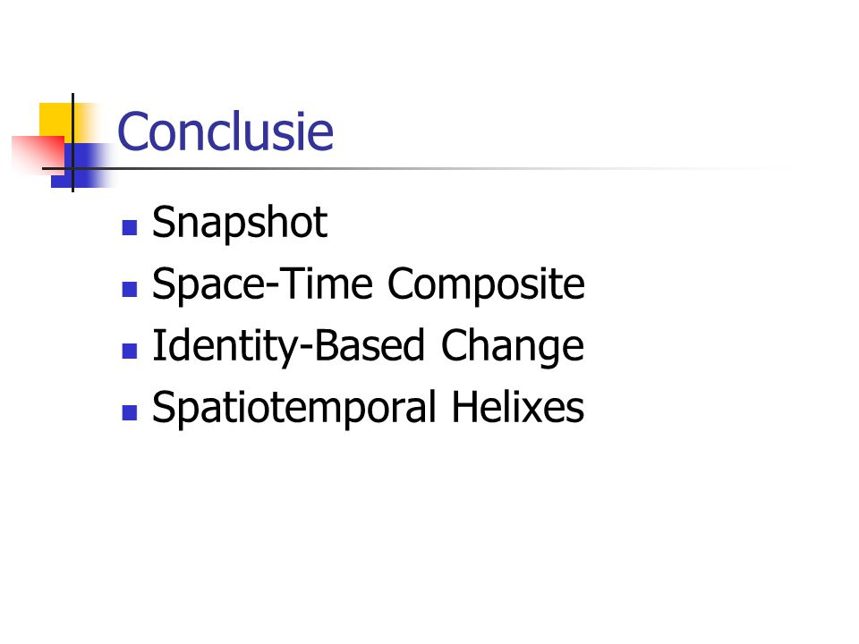 Conclusie Snapshot Space-Time Composite Identity-Based Change Spatiotemporal Helixes