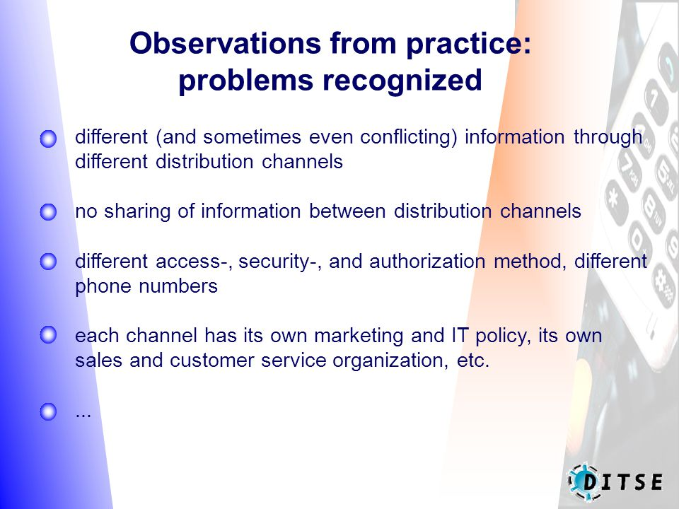 Observations from practice: problems recognized different (and sometimes even conflicting) information through different distribution channels no sharing of information between distribution channels different access-, security-, and authorization method, different phone numbers each channel has its own marketing and IT policy, its own sales and customer service organization, etc....