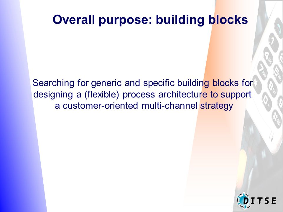 Overall purpose: building blocks Searching for generic and specific building blocks for designing a (flexible) process architecture to support a customer-oriented multi-channel strategy