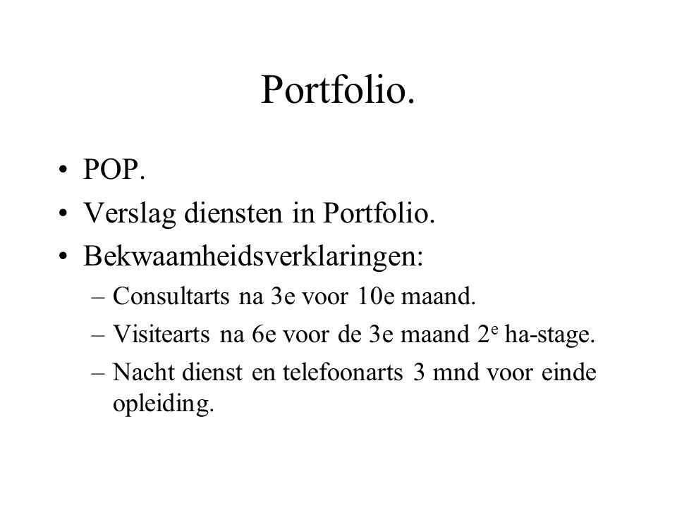 Portfolio. POP. Verslag diensten in Portfolio.