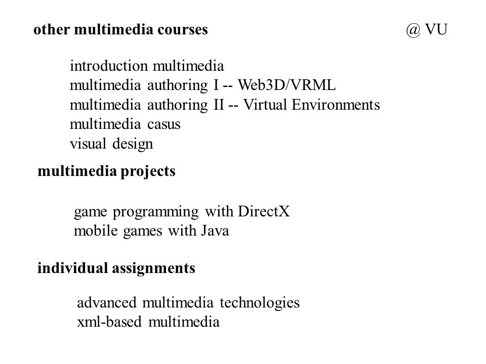 other multimedia courses introduction multimedia multimedia authoring I -- Web3D/VRML multimedia authoring II -- Virtual Environments multimedia casus visual design multimedia projects game programming with DirectX mobile games with Java individual assignments advanced multimedia technologies xml-based VU