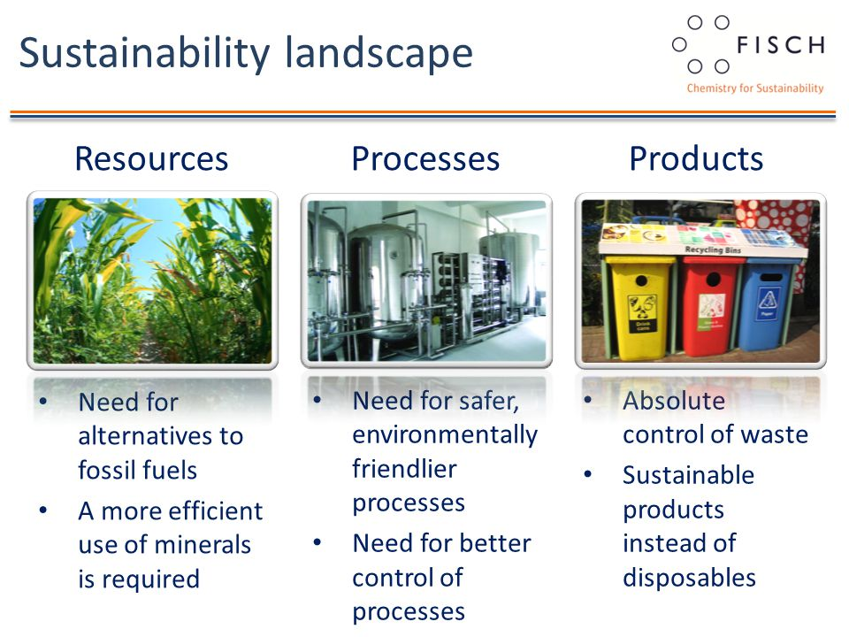 Sustainability landscape Need for alternatives to fossil fuels A more efficient use of minerals is required ResourcesProcessesProducts Need for safer, environmentally friendlier processes Need for better control of processes Absolute control of waste Sustainable products instead of disposables
