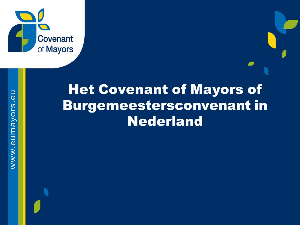 Het Covenant of Mayors of Burgemeestersconvenant in Nederland