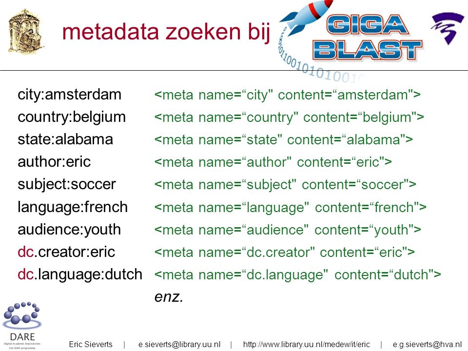 metadata zoeken bij Gigablast city:amsterdam country:belgium state:alabama author:eric subject:soccer language:french audience:youth dc.creator:eric dc.language:dutch enz.
