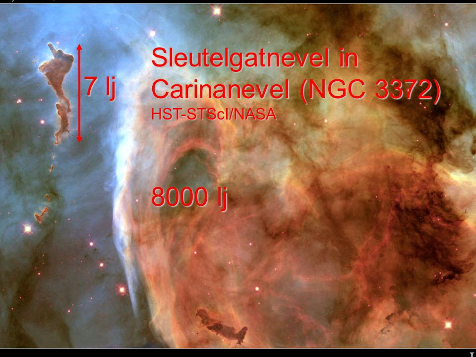 Sleutelgatnevel in Carinanevel (NGC 3372) HST-STScI/NASA 8000 lj 7 lj