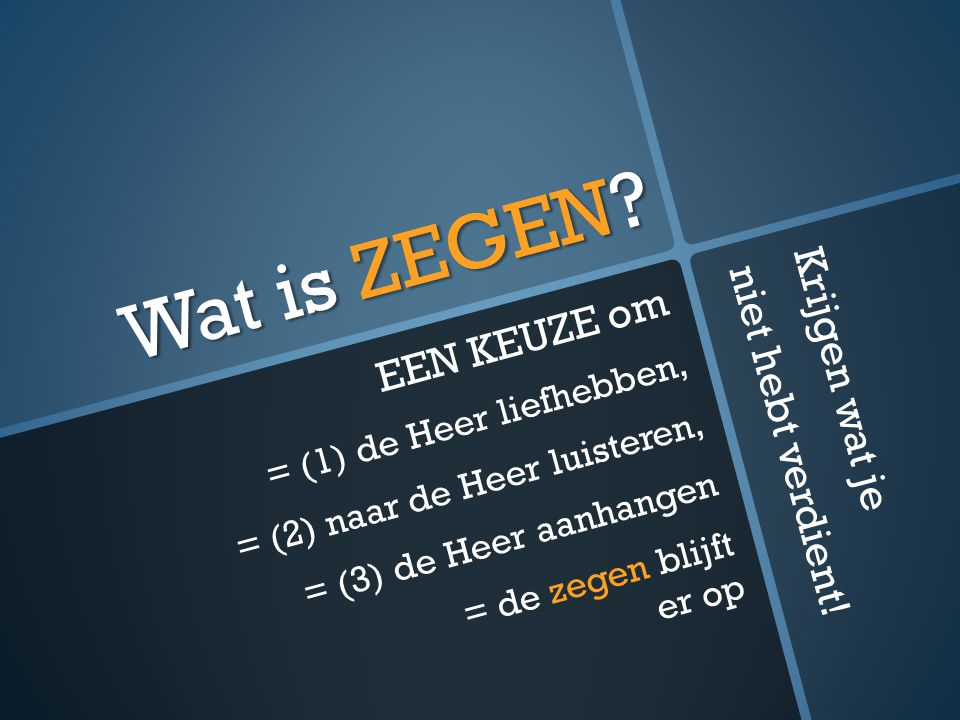 Wat is ZEGEN.