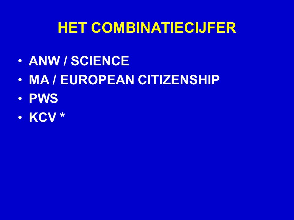 HET COMBINATIECIJFER ANW / SCIENCE MA / EUROPEAN CITIZENSHIP PWS KCV *