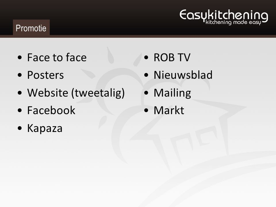 Promotie Face to face Posters Website (tweetalig) Facebook Kapaza ROB TV Nieuwsblad Mailing Markt