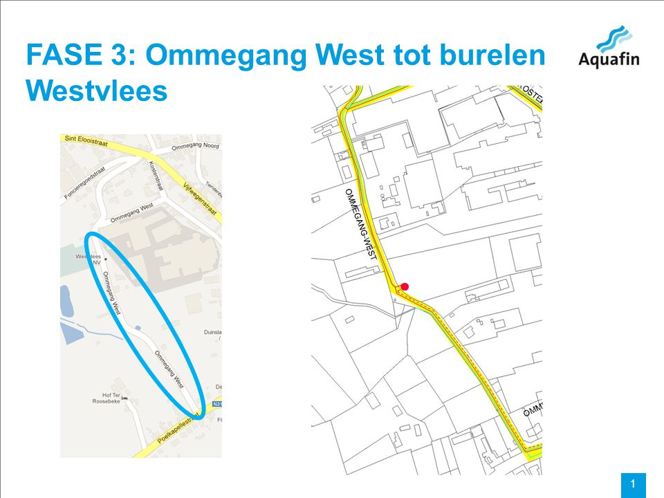 Aquafin partner for all wastewater projects 1 FASE 3: Ommegang West tot burelen Westvlees