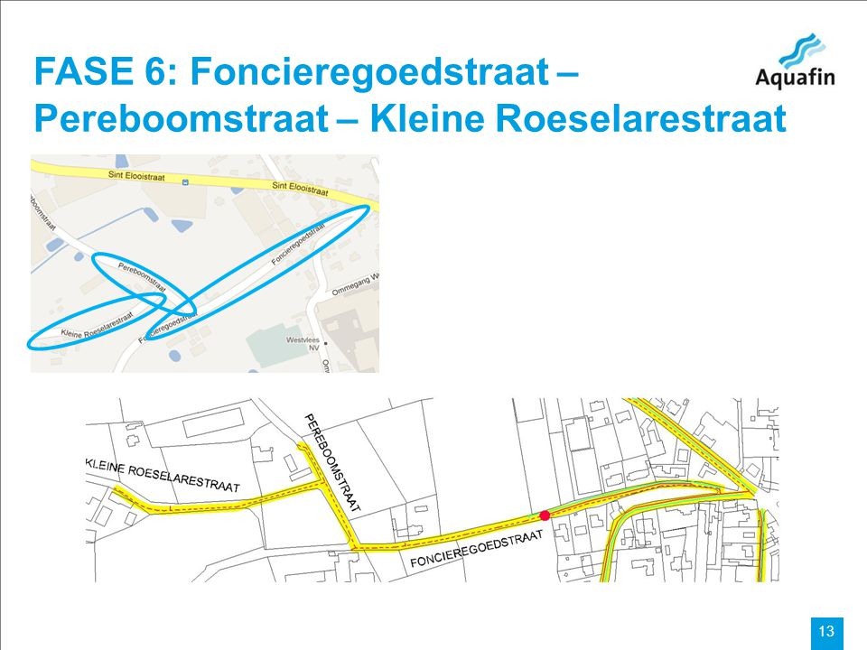 Aquafin partner for all wastewater projects 13 FASE 6: Foncieregoedstraat – Pereboomstraat – Kleine Roeselarestraat